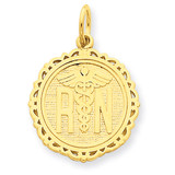 Registered Nurse Disc Charm 14k Gold C1786