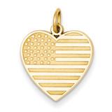 Flag Heart Charm 14k Gold C1798