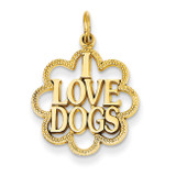 I Love Dogs Charm 14k Gold C1841