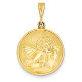 Angel Pendant 14k Gold Polished & Satin C1897