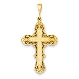 Fleur De Lis Cross Pendant 14k Gold C1965