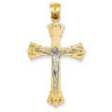 Diamond-cut Crucifix Pendant 14k Two-Tone Gold C2000