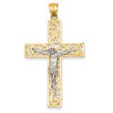 Diamond-cut Crucifix Pendant 14k Two-Tone Gold C2015