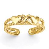 Hearts & X Toe Ring 14k Gold C2072