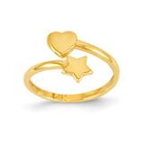 Heart & Star Toe Ring 14k Gold C2081