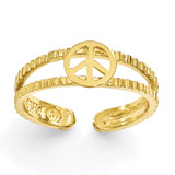 Peace Sign Toe Ring 14k Gold C2085