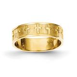 Cross Band 14k Gold Polished & Satin C2103
