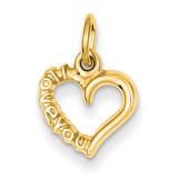 I Love You Heart Charm 14k Gold Polished C2170