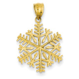 3-D Snowflake Pendant 14k Gold Polished C2215