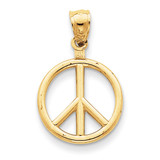 Peace Sign Charm 14k Gold Polished C2247