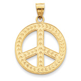 Peace Sign Pendant 14k Gold Solid Polished C2248