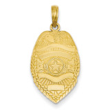 Police Badge Pendant 14k Gold Polished C2252