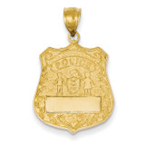 Large Police Badge Pendant 14k Gold C2253