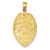 Large Badge Pendant 14k Gold C2254