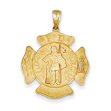 Large Saint Florian Badge Pendant 14k Gold C2257