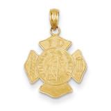 Small Saint Florian Badge Pendant 14k Gold C2258