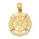 Reversible Fire Department Shield Pendant 14k Gold C2262