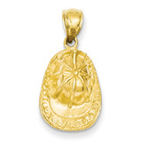 3-D Firefighter Hat Pendant 14k Gold C2268