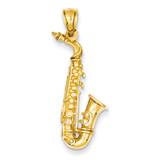 3-D Saxophone Pendant 14k Gold Solid Polished C2281