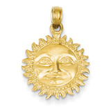 3-Dimensional Sun Pendant 14k Gold Solid Polished C2282