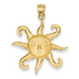Satin Polished Sun Pendant 14k Gold C2283