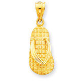 Sandals Pendant 14k Gold Solid Polished C2349