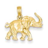 Satin 3-D Elephant Pendant 14k Gold C2365
