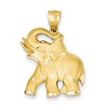 Diamond-cut Open-Backed Elephant Pendant 14k Gold Solid Satin C2367