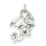 3-Dimensional Dragon Charm 14k White Gold Solid Polished C2378