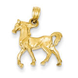 3-Diamensional Horse Charm 14k Gold Solid Polished C2400