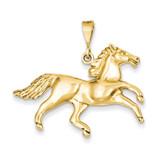 Open-Backed Horse Pendant 14k Gold Solid Polished C2404