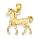 Open-Backed Horse Pendant 14k Gold Solid Polished C2406
