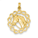 Horse Head in Horseshoes Pendant 14k Gold Solid Polished C2417