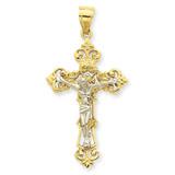 INRI Fleur De Lis Crucifix Pendant 14k Two-Tone Gold C242