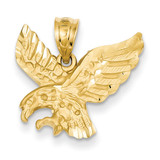 Satin Diamond-cut Eagle Pendant 14k Gold C2422