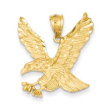 Satin Diamond-cut Eagle Pendant 14k Gold C2423