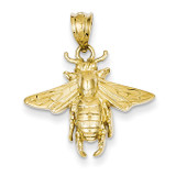 Open-Backed Bee Pendant 14k Gold Solid C2445