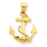 Anchor Pendant 14k Gold Solid Polished C2487