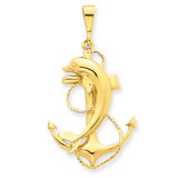 Anchor with Dolphin Pendant 14k Gold Solid Polished C2489