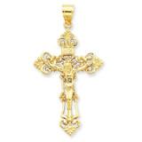 INRI Fleur De Lis Crucifix Pendant 14k Gold C250