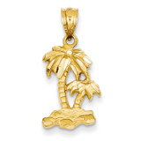 Diamond-cut Palm Trees Pendant 14k Gold Polished C2506