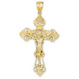 INRI Fleur De Lis Crucifix Pendant 14k Gold C251