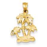 Satin Diamond-cut Open-Backed Palm Trees Pendant 14k Gold C2510