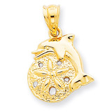 Dolphin & Sanddollar Charm 14k Gold C2536
