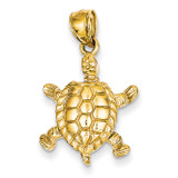 3-Dimensional Moveable Turtle Pendant 14k Gold Solid Polished C2544
