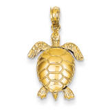 3-Dimensional Moveable Turtle Pendant 14k Gold Solid Polished C2545