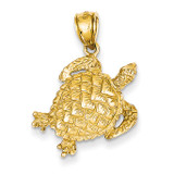 Open-Backed Turtle Pendant 14k Gold Solid Polished C2546