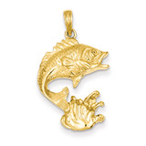 Open-Backed Bass Fish Pendant 14k Gold Polished C2572