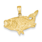 Open-Backed Bass Fish Pendant 14k Gold Polished C2574