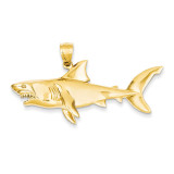 3-Dimensional Shark Pendant 14k Gold Polished C2615